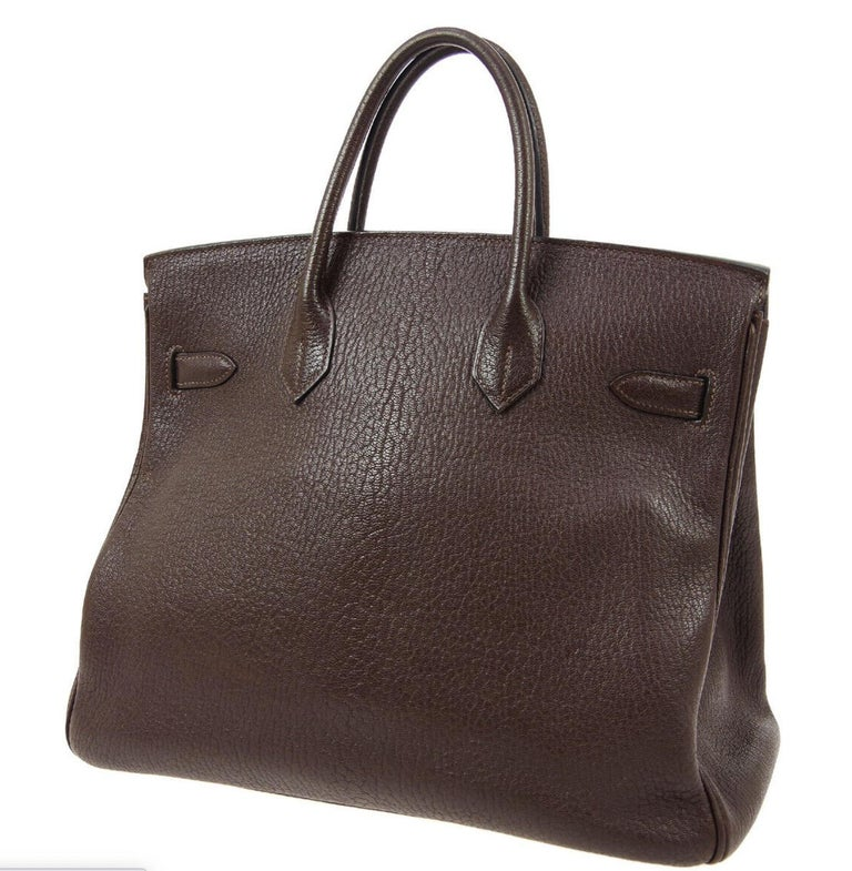 Women's Hermes HAC 32 Dark Chocolate Leather Gold Carryall Travel Top Handle Tote Bag For Sale