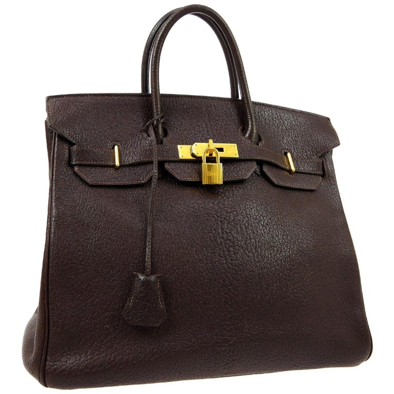 Hermes HAC 32 Dark Chocolate Leather Gold Carryall Travel Top Handle Tote Bag For Sale
