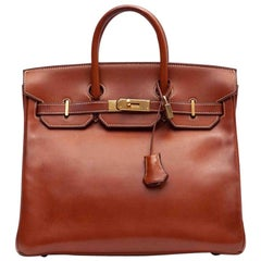HERMES HAC 32 Handbag in Gold Barénia Leather