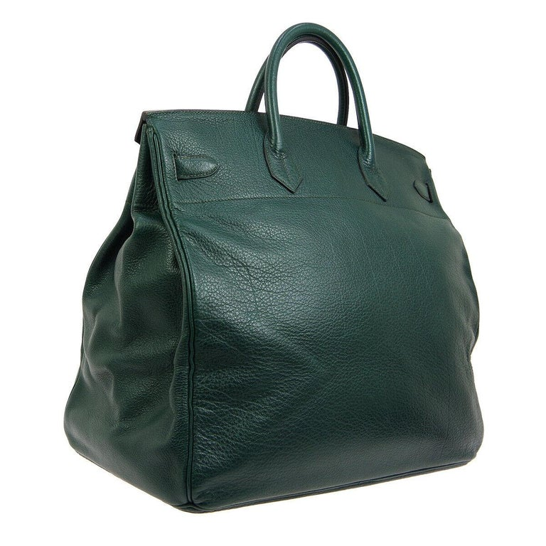 Hermes HAC 45 Green Leather Gold Large Men's Carryall Travel Top Handle Tote Bag In Good Condition For Sale In Chicago, IL