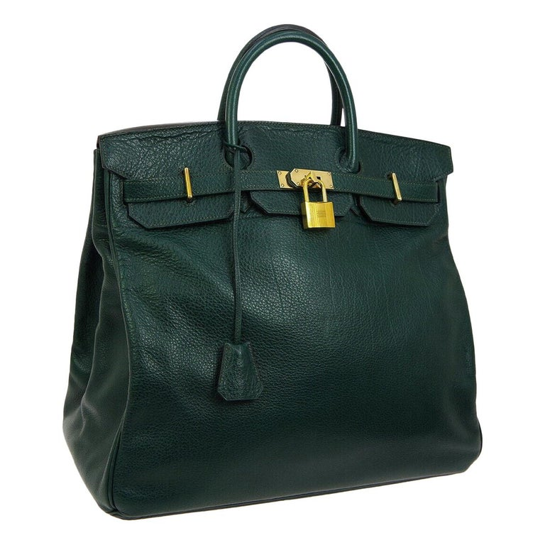 Hermes HAC 45 Green Leather Gold Large Men's Carryall Travel Top Handle Tote Bag For Sale