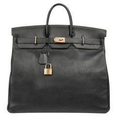 Hermes Hac 50 Black Fjord Leather Brass Hardware