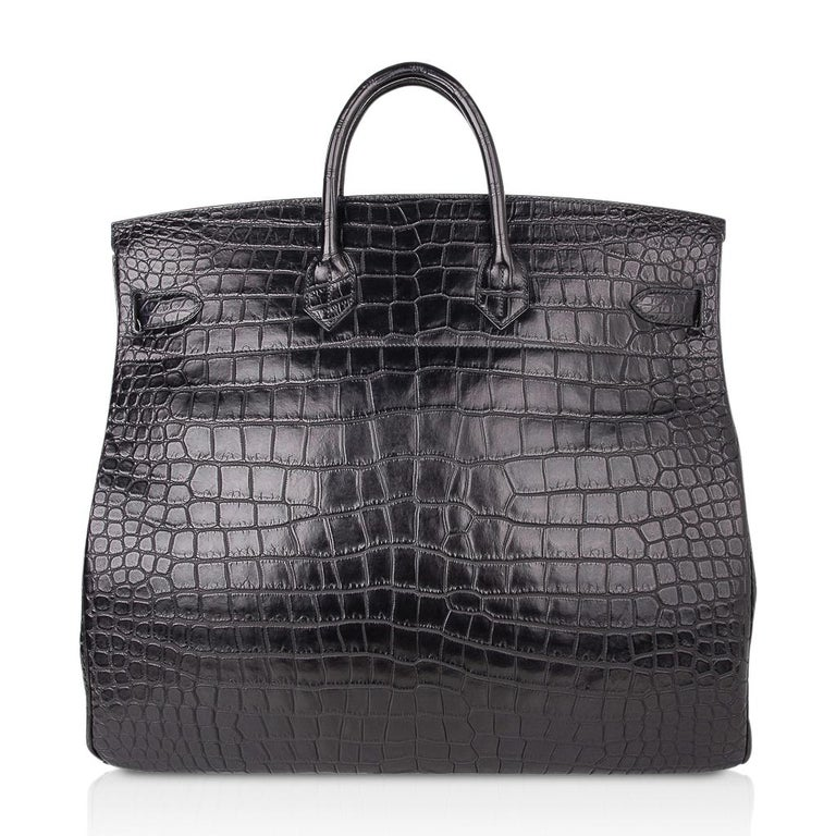 Hermes Hac 50 Travel Bag Black Matte Porosus Crocodile Palladium New w/ Box For Sale 6
