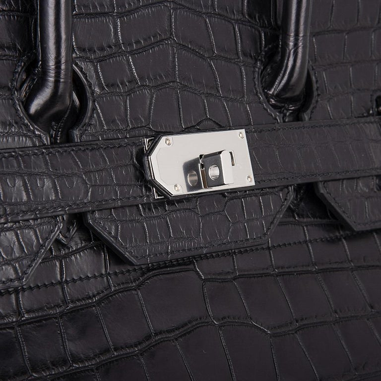 Hermes Hac 50 Travel Bag Black Matte Porosus Crocodile Palladium New w/ Box In New Condition For Sale In Miami, FL
