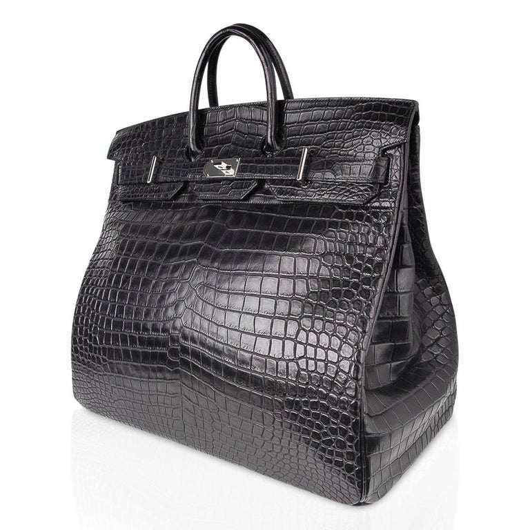 Hermes Hac 50 Travel Bag Black Matte Porosus Crocodile Palladium New w/ Box For Sale 2