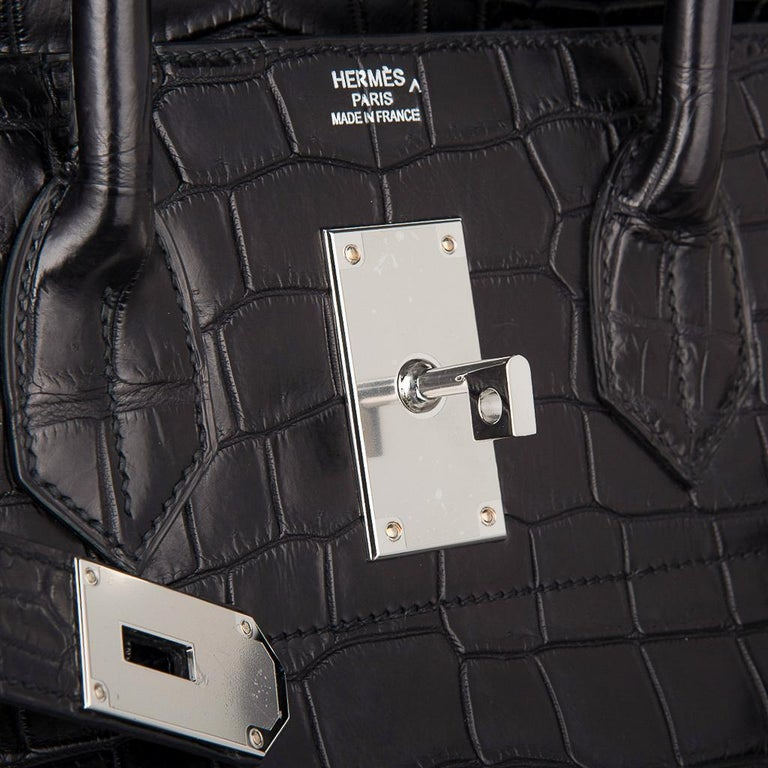 Hermes Hac 50 Travel Bag Black Matte Porosus Crocodile Palladium New w/ Box For Sale 3