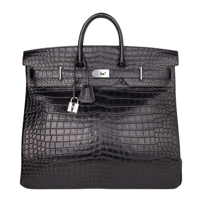 Hermes Hac 50 Travel Bag Black Matte Porosus Crocodile Palladium New w/ Box For Sale
