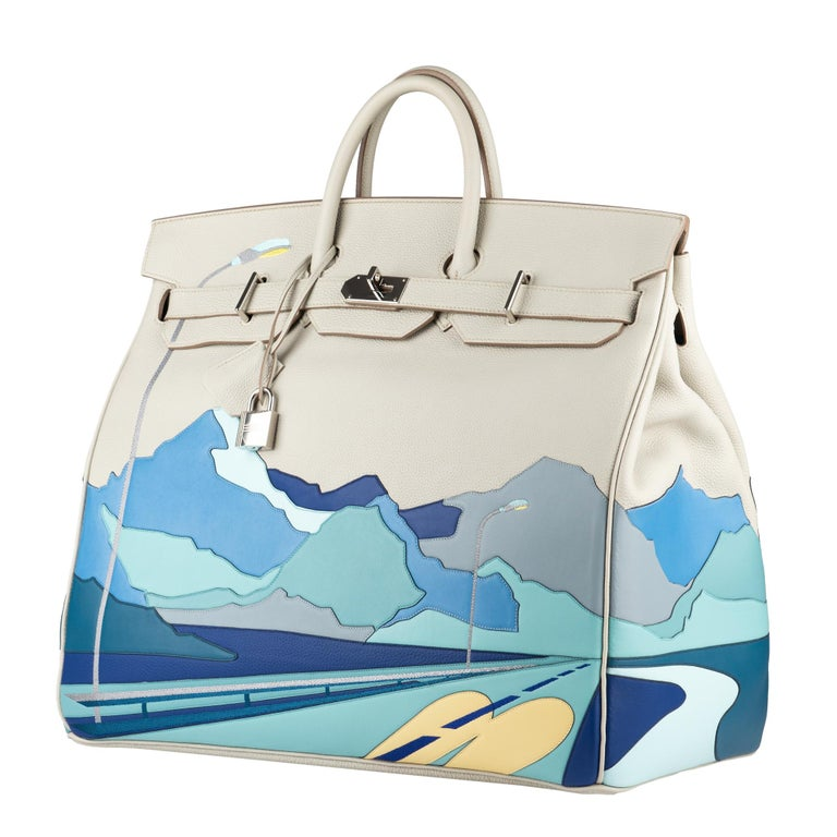"Brand: Hermès  Size: Haut à Courroies 50cm ""Endless Roads"" Color: Gris Perle and multi-tone patchwork leather with silver-tone embroidery Leather: Togo and Swift Hardware: Palladium   Stamp: 2020 D Condition: Pristine, never carried: The item has"