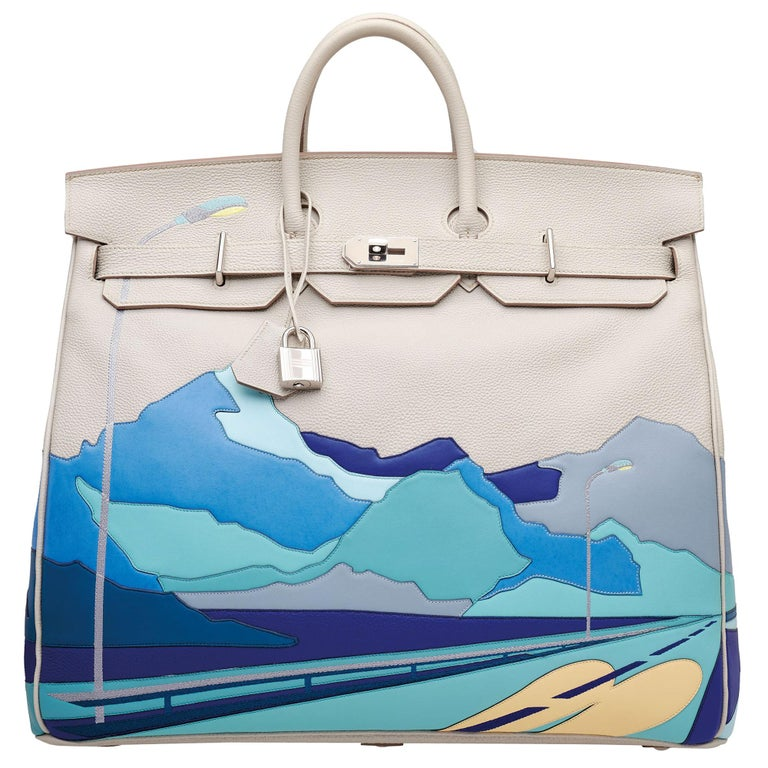 Hermès HAC 50cm Endless Roads Gris Perle Multi Leather Palladium Hardware For Sale