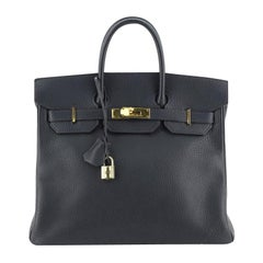 Hermes HAC Birkin Bag Bleu Indigo Ardennes with Gold Hardware 32