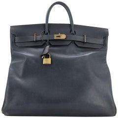 Hermes HAC Birkin Bag Bleu Indigo Ardennes with Gold Hardware 50