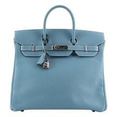 Hermes HAC Birkin Bag Bleu Jean Epsom with Palladium Hardware 32