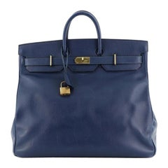 Hermes HAC Birkin Bag Bleu Saphir Ardennes With Gold Hardware 50