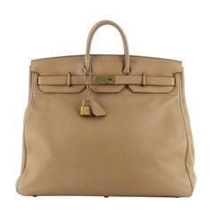 Hermes HAC Birkin Bag Brown Clemence with Gold Hardware 50