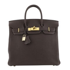 Hermes HAC Birkin Bag Chocolate Togo with Gold Hardware 28