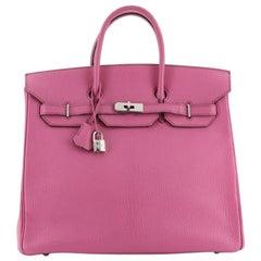 Hermes HAC Birkin Bag Fuchsia Chevre de Coromandel with Palladium Hardwar