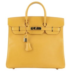 Hermes HAC Birkin Bag Jaune Courchevel with Gold Hardware 32