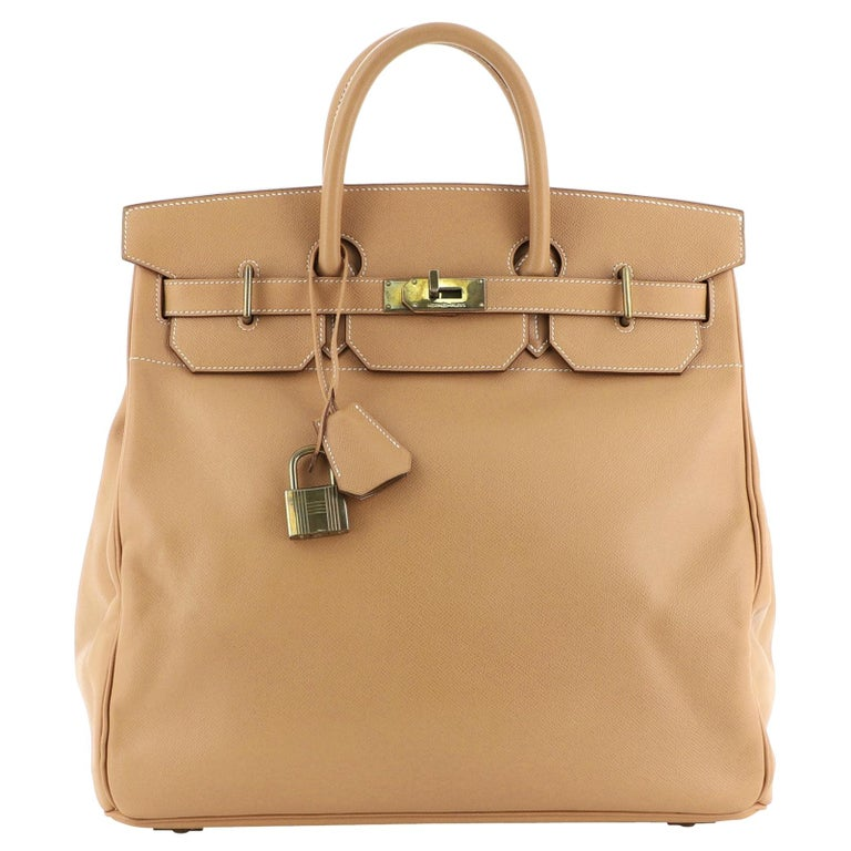 Hermes HAC Birkin Bag Natural Courchevel with Gold Hardware 40 For Sale