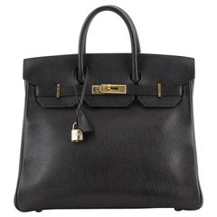 Hermes HAC Birkin Bag Noir Ardennes with Gold Hardware 32