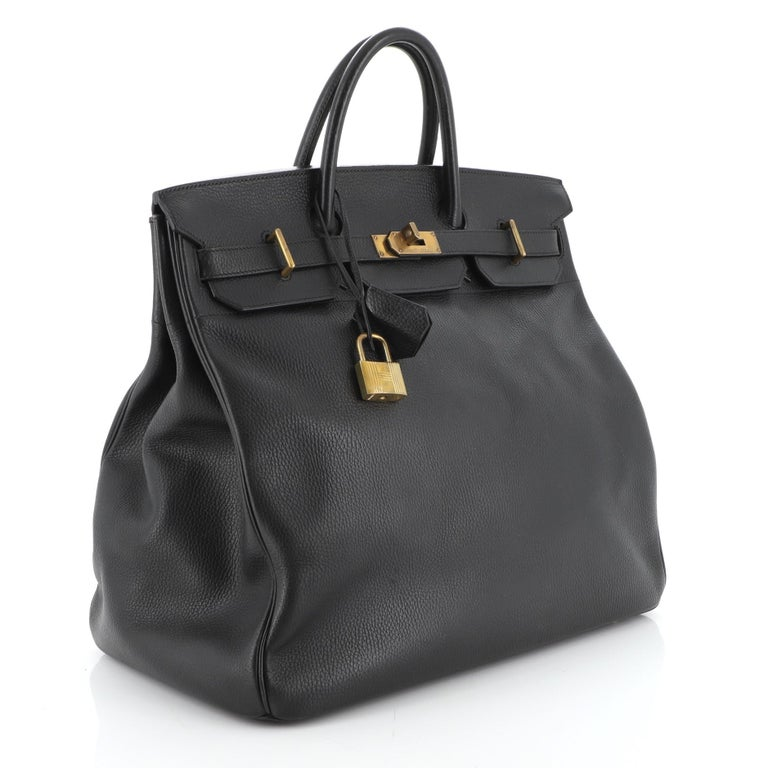 Hermes HAC Birkin Bag Noir Ardennes with Gold Hardware 45 In Good Condition For Sale In New York, NY