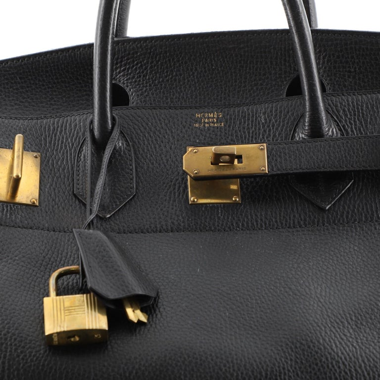 Hermes HAC Birkin Bag Noir Ardennes with Gold Hardware 45 For Sale 3