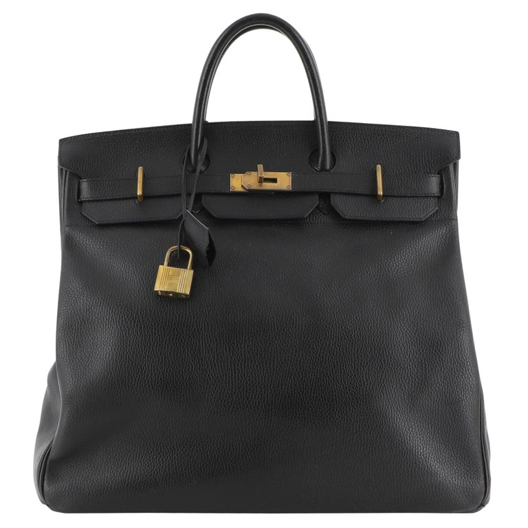 Hermes HAC Birkin Bag Noir Ardennes with Gold Hardware 45 For Sale