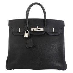 Hermes HAC Birkin Bag Noir Chevre de Coromandel with Palladium Hardware 28