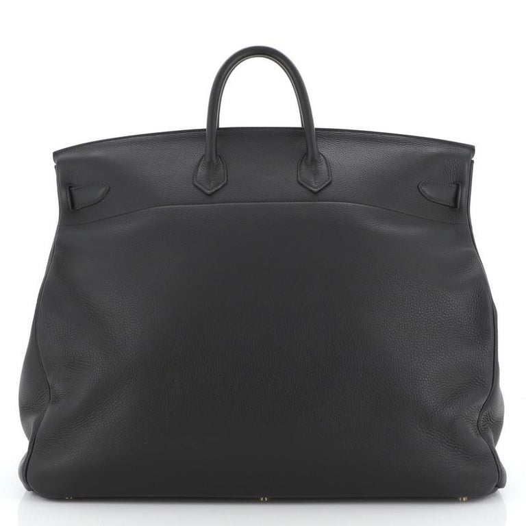 Hermes HAC Birkin Bag Noir Clemence with Gold Hardware 50 In Good Condition For Sale In New York, NY