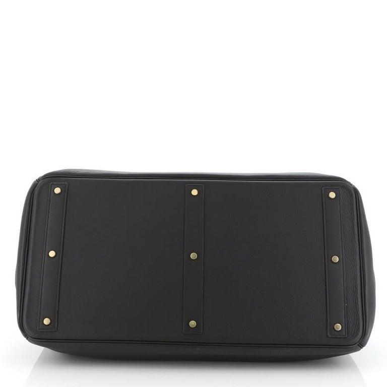 Women's or Men's Hermes HAC Birkin Bag Noir Clemence with Gold Hardware 50 For Sale