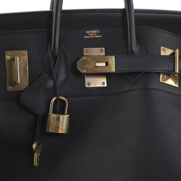 Hermes HAC Birkin Bag Noir Clemence with Gold Hardware 50 For Sale 2