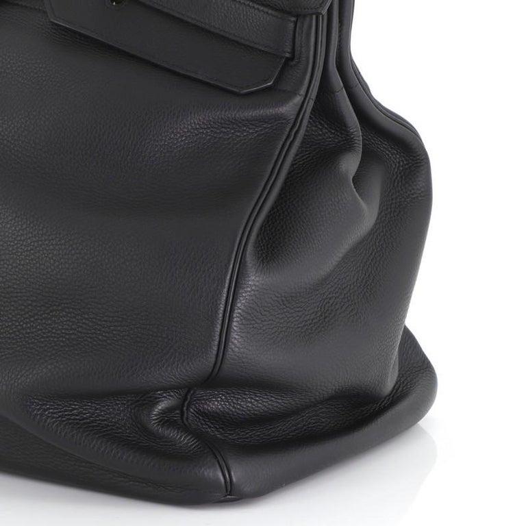 Hermes HAC Birkin Bag Noir Clemence with Gold Hardware 50 For Sale 3