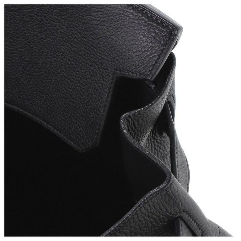 Hermes HAC Birkin Bag Noir Clemence with Gold Hardware 50 For Sale 4