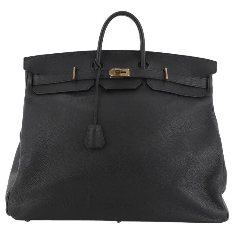 Hermes HAC Birkin Bag Noir Clemence with Gold Hardware 50 For Sale
