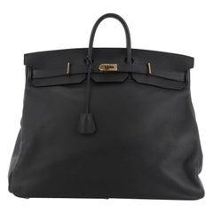 Hermes HAC Birkin Bag Noir Clemence with Gold Hardware 50