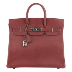 Hermes HAC Birkin Bag Rouge H Chevre de Coromandel with Palladium Hardware 32