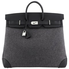 Hermes HAC Birkin Bag Todoo Wool and Black Togo with Palladium Hardware 50