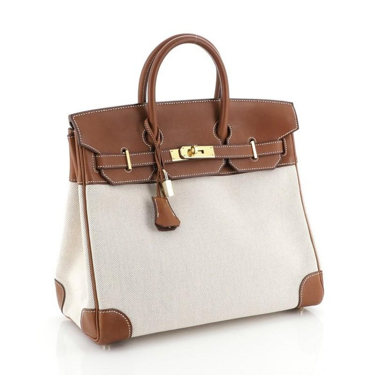 Hermes HAC Birkin Bag Toile and Fauve Barenia with Gold Hardware 32 In Good Condition For Sale In New York, NY