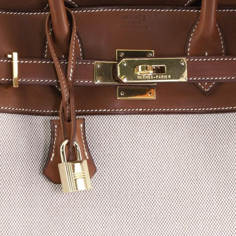 Hermes HAC Birkin Bag Toile and Fauve Barenia with Gold Hardware 32 For Sale 3