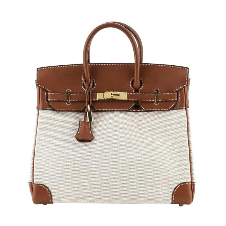 Hermes HAC Birkin Bag Toile and Fauve Barenia with Gold Hardware 32 For Sale