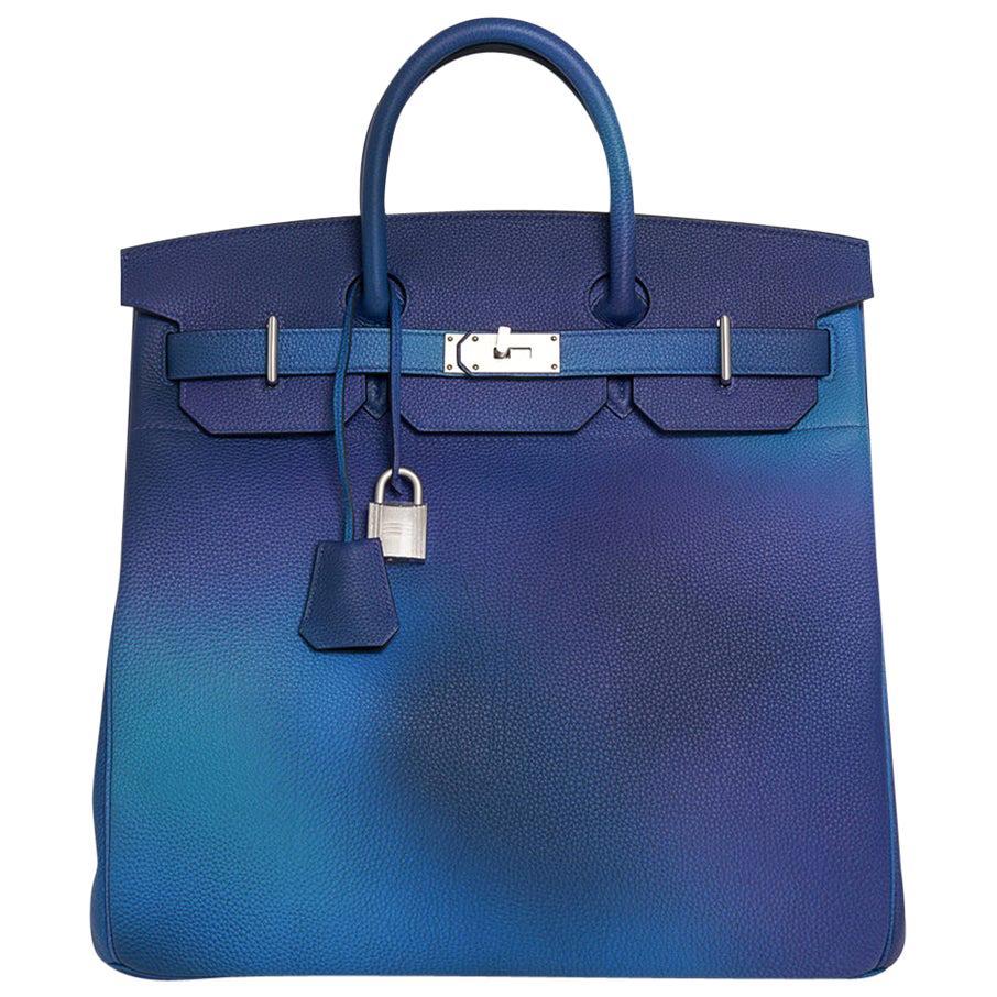 Hermes Hac Cosmos Birkin 40 Bag Blue Nuit / Violet Limited Edition