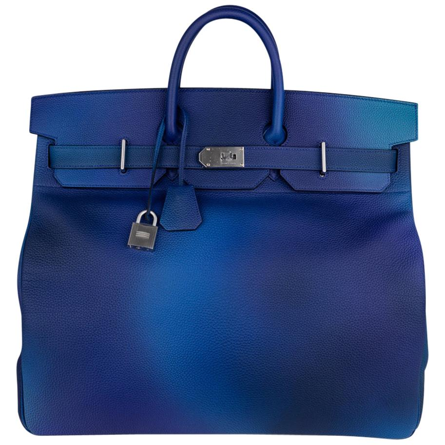 Hermes Hac Cosmos Birkin 50 Bag Blue Nuit / Violet Limited Edition