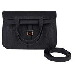 Hermes Halzan 25 Bag Black Gold Hardware Clemence Leather New w/Box