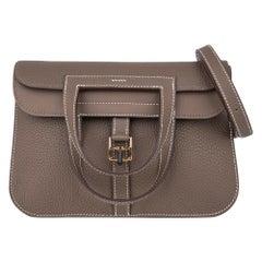 Hermes Halzan 25 Bag Etoupe Gold Hardware Clemence Leather New w/Box