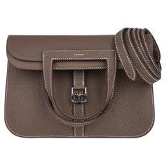 Hermes Halzan 25 Bag Etoupe Palladium Hardware Clemence Leather New w/Box