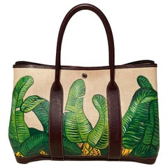 Hermes Hand Painted Banana Leaf Garden Party 35