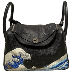 Hermes Hand Painted Black Clemence Lindy 30