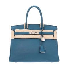 Hermès handbag Birkin 30 bicolor blue/grey (special order, horseshoe)!
