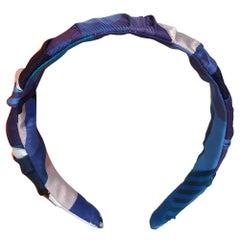 Handmade Blue Les Facèties de Pègase Silk Scarf Ruched Headband