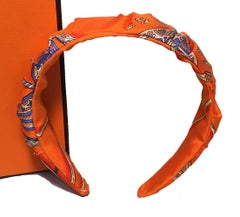 Handmade Orange Les Domes Celestes Silk Scarf Ruched Headband