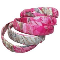 Hermes Handmade Vintage Pink Pivoines Silk Scarf Headband